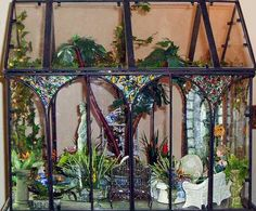 Conservatory and tutorials on making plants...going to do this with my glass greenhouse! :0)