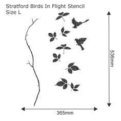 Stratford Birds in Flight Stencil - Reusable large wall stencil, perfect for decorating projects. See more wall stencils at The Stencil Studio
