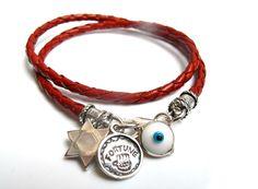 Kabbalah Red Charms Silver Leather Bracelet Hamsa Star David Evil Eye Luck 925