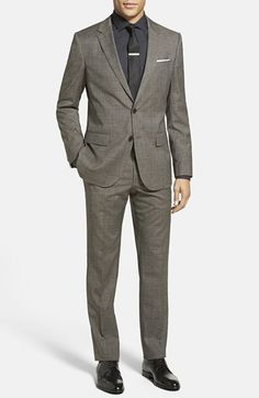 BOSS 'Huge/Genius' Trim Fit Plaid Wool & Cotton Suit available at #Nordstrom