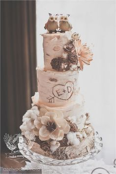 """One of a Kind Wedding Cakes from Artisan Cake Company – MODwedding I love this little owl cake topper! It goes so well with the bark-like frosting and heart """"carved"""" in. Birch Wedding Cakes, Themed Wedding Cakes, Wedding Cake Rustic, Unique Wedding Cakes, Woodland Wedding, Rustic Cake, Wedding Cake Vintage, Vintage Weddings, Forest Wedding"""