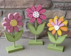 3 Tall Standing Whimsical Flower Block Set for Spring decor, Flower decor, Girl room decor, shelf, Bee Crafts, Flower Crafts, Easter Crafts, Diy And Crafts, Wood Craft Patterns, Wooden Flowers, Flower Stands, Neighbor Gifts, Deco Table