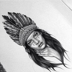 Native American Drawing, Native American Tattoos, Native American Headdress, Native American Warrior, Native American Girls, Native American Images, Indian Women Tattoo, Native Indian Tattoos, Indian Girl Tattoos
