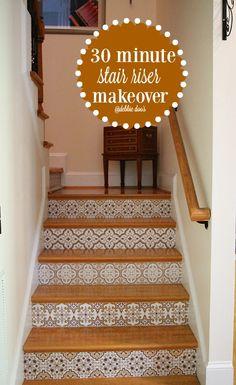 30 minute stair riser makeover - Debbiedoos