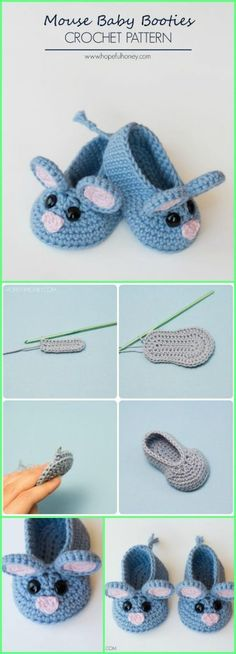 Crochet Diy Super Cute Crochet Mouse Baby Booties - Top 40 Free Crochet Baby Booties Patterns - These 40 free crochet baby booties patterns that are quick to whip up and come with stunning designs that will warm every mom's heart! Crochet Baby Shoes, Crochet Baby Booties, Crochet Slippers, Cute Crochet, Crochet For Kids, Kids Slippers, Crochet Top, Crochet Summer, Crochet Mandala