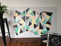Geometric abstract painting (Daniela Kiss - Honint's Triangulation 150X100cm Acrylic on Canvas)