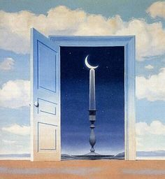 René Magritte - Moon Door This is a good example of how colors can compliment each other. As we see in this painting Magritte uses a shade of orange  to help divide the painting. This shade of orange also allows the dark blue in the back ground to draw the viewer in towards the painting.
