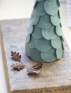 felt tree...just bought 3 styrofoam cones at Dollar Tree...now I know what to do with them!  :)  {perhaps one with flat circles, one with layered ruffles and one with rolled/scrunched felt flowers}