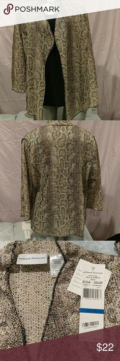 Alfred Dunner Textured Animal Print Cardigan New with tags: Animal print cardigan champagne color, cheetah print. 3/4 sleeve, 100% polyester. Alfred Dunner Sweaters Cardigans