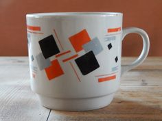 Vintage Soviet Big Mug Ceramic Coffee Cup White with Red Black Gray Geometric Pattern Soviet Design USSR era 1970 s. Russian Tableware