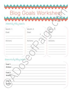 Blog Goals Free Printable - A Dose of Paige
