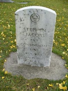 Grave of Pvt Stephen Jacobs as pictured on findagrave.com.  Findagrave lists his birth in 1759 but FamilySearch lists it in 1764 both in Killingly, Windham, Connecticut.  Both list his death date as 15 January 1840.  He is buried in the Oakwood Cemetery in Niagra NY.