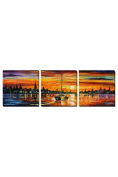 Leonid Afremov Set of 3 Calm Sunset, Gallery Wrapped Canvases - Beyond the Rack