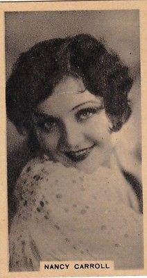 NANCY CARROLL - godfrey phillips hollywood  CINEMA STARS  1931 cigarette  card