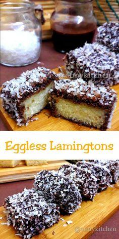 Eggless Lamingtons / Australian Lamingtons / Lamingtons – At My Kitchen