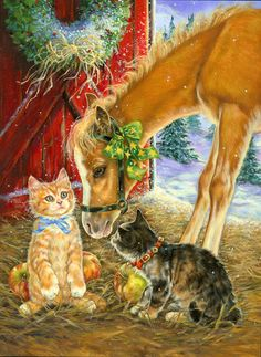 The Horse and the Cats for Christmas Christmas Horses, Cowboy Christmas, Christmas Animals, Christmas Love, Christmas Cats, Country Christmas, Xmas, Christmas Decor, Merry Christmas