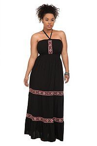 Black Tribal Embroidered Maxi Dress