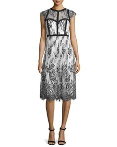 Cap-Sleeve+Mixed-Media+Cocktail+Dress,+Black/White+by+Parker+Black+at+Neiman+Marcus.
