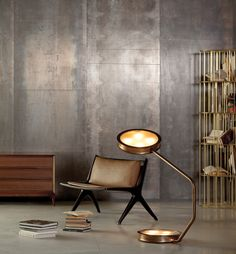 The After Glow Floor Lamp designed by Vincenzo De Cotiis is a chic burnished brass floor lamp with tempered glass. Home Interior Design, Interior Architecture, Interior And Exterior, Vincenzo De Cotiis, Modern Furniture, Furniture Design, Espace Design, Brass Floor Lamp, Floor Lamps