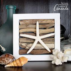 Add this driftwood art to your summer mantel as a nod to the beach that will leave you dreaming of waves splashing on the sand! A pretty home decor project!