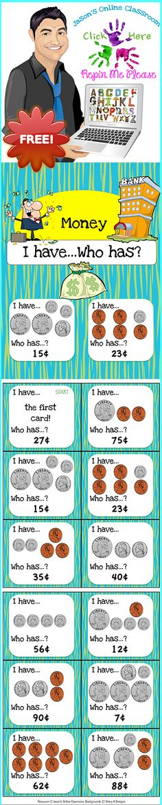 Money I Have, Who Has Game FREEBIE! Game and to help students learn to recognize and count money 1 dollar and under. This game features 42 cards in total. Teaching Money, Student Teaching, Teaching Ideas, Second Grade Math, Grade 2, Math Workshop, Homeschool Math, Guided Math, Fun Math