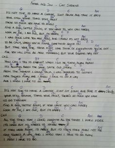 Chords & Lyrics - Father and Son - Cat Stevens