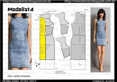 Pattern for dress Diy Clothing, Clothing Patterns, Dress Patterns, Underwear Pattern, Bra Pattern, Jeans Gown, Denim Short Dresses, Simple Gowns, Modelista
