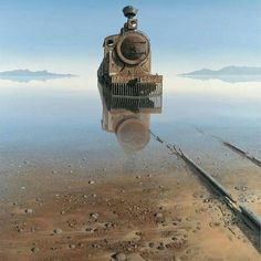 """amazing photo of a train now abandoned that seems to be rising from the haunted waters of a lake , great landscape photo imagery Keith Alexander. """"The truth is, most of us discover where we are headed when we arrive. Abandoned Buildings, Abandoned Train, Abandoned Mansions, Abandoned Places, Abandoned Vehicles, Abandoned Castles, Haunted Places, Old Trains, Train Tracks"""