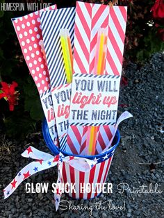 Glow Stick Holder Printable for 4th of july