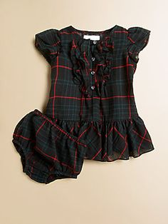 Ralph Lauren Infant's Plaid Ruffled Dress & Bloomers Set  55$  Would love to get this little Christmas outfit for my niece that should be born tomorrow!