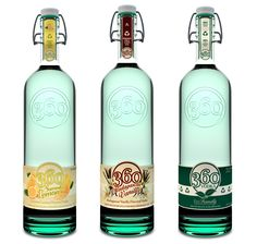 Vodka 360 is an organic vodka available in several flavors. There's an interesting mix of elements - modern and retro at the same time. I'm not sure how I feel about this, but I think it's a friendly and appealing look for vodka, compared to most vodkas which usually have a 'cold' sort of look.