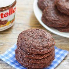 4 Ingredient Chewy Nutella Cookies. Taste like brownies in cookie form!
