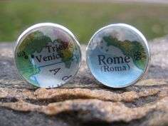 I Love ITALY Vintage Map Cufflinks Rome & Venice by TreeTownPaper, $24.00