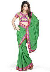 Green Color Satin Chiffon Jacquard Function & Party Wear Sarees : Nairiti Collection  YF-41322