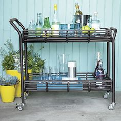 Kruger Black Bar Cart in Kruger Collection | Crate and Barrel from spring collection catalog 2014.