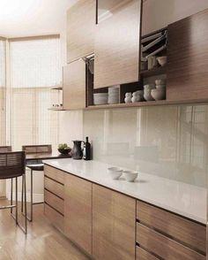 Practical overhead storage by ADK Cabinetworks - Modern Kitchen Kitchen Room Design, Kitchen Cabinet Design, Kitchen Layout, Home Decor Kitchen, Interior Design Kitchen, Diy Kitchen, Home Kitchens, Kitchen Ideas, Kitchen Backsplash