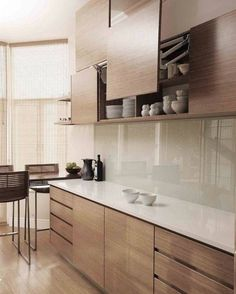 Practical overhead storage by ADK Cabinetworks - Modern Kitchen Luxury Kitchens, Kitchen Remodel, Kitchen Decor, Contemporary Kitchen, Kitchen Room Design, Modern Kitchen Cabinet Design, Kitchen Furniture Design, Modern Kitchen Design, Kitchen Design