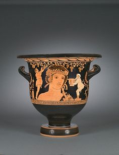 Red-figure Bell Krater, terracotta, ca. BCE, attributed to the Choregos Painter, Apulian (Magna Graecia) - on display at Cleveland Museum of Art. Ancient Greek Theatre, Ancient Greek Art, Ancient Greece, Historical Artifacts, Ancient Artifacts, Greek Pottery, Pottery Art, Magna Graecia, Greek Mythology Art