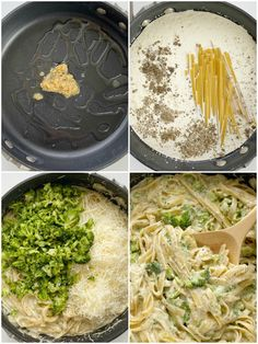 How to make one pot fettuccine alfredo in just 30 minutes. With step-by-step picture instructions. Garlic Chicken Alfredo Recipe, Chicken Broccoli Fettuccine Alfredo, Fettuccine Noodles, Fetuccini Alfredo, Tomato Season, Rice Vermicelli, Fresh Broccoli, One Pot Pasta, Pasta Dishes