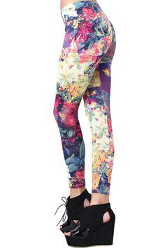 Flowers Print Leggings #Romwe