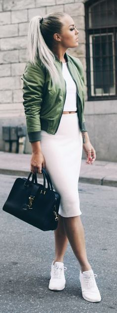 Green Bomber Jacket Outfit Idea by Angelica Blick