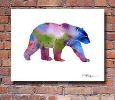 Polar Bear Art Print - Abstract Watercolor Painting - Wall Decor