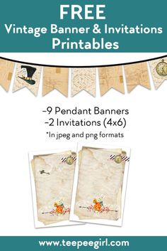 Free Vintage Alice in Wonderland Blank invitations and banners. These are totally customizable and come in jpeg and png formats.