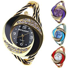 Fashion Women Round Crystal Rhinestone  Decorated Bangle Cuff Analog Quartz Bracelet Watch 0JTP #>=#>=#>=#>=#> Click on the pin to check out discount price, color, size, shipping, etc. Save and like it!