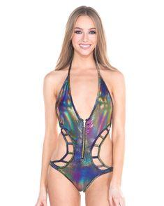 141caabe72ed8 Rainbow Dragon Zip Up Monokini