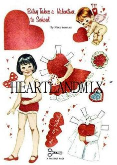 "Vintage Valentine Paper Doll ""Betsy Takes a Valentine to School"" Download Printable Clip Art #affiliate"