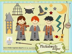 Harry Potter inspired clip art  set Personal and Commerical Use for Cards, Stationery and Paper Crafts printables. $3.00, via Etsy.