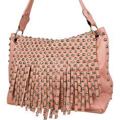 Pink STUDDED/RHINESTONE TASSLE Fashion Handbag
