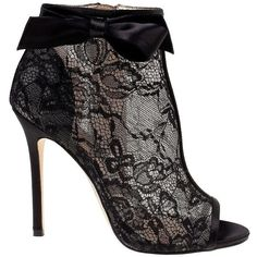 Belle By Badgley Mischka Brooke Peep Toe Bootie ($109) ❤ liked on Polyvore featuring shoes, boots, ankle booties, black lace, short boots, peep toe bootie, peep toe ankle boots, black lace-up boots and lace bootie