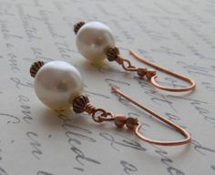 White Pearl Earrings Pearl and Copper by JulieEllisDesigns on Etsy